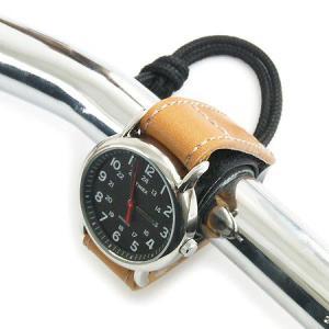自転車 や バイク の ハンドル 用 くるっと 回らない 滑り止め 付き 時計 ホルダー ( ぬめ革...