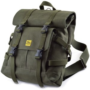 ちょっとミリタリーな感じのバッグシリーズ/Type-A 帆布のバックパック(6号帆布製:グリーン/パラフィン加工済み)|vannuyswebshop