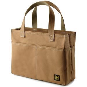 スクエア ポケポケトート A4 (9号帆布製:カフェオレ パラフィン加工済み) < トートバッグ かばん 手提げ 肩掛け >|vannuyswebshop