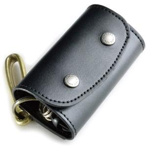 ポケット付き ぬめ革キーケース <吊り下げ用 真鍮製フック付属タイプ> (牛ぬめ革製) vannuyswebshop