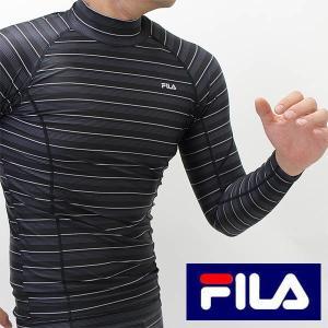 送料無料 FILA(フィラ)吸汗速乾コンプレッションハイネック長袖tシャツ(再起反射付き)メンズ