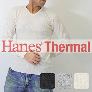 Hanes(ヘインズ)サーマル 長袖Vネックtシャツ(MH4121) メンズ カットソー ヘインズ長...