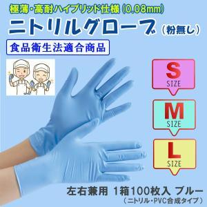 ニトリル 手袋 使い捨て 食品衛生法適合 粉なし 100枚入り 左右兼用 パウダーフリー ニトリルN...