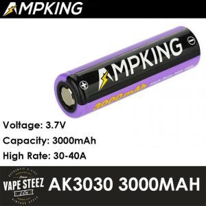 Ampking AK3030 リチウムイオンバッテリー フラットトップ 20700 / 3000mAh / 3.7V|vapesteez