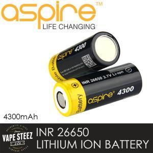 Aspire INR 26650 リチウムイオン充電池 (1本)アスパイア バッテリー フラットトップ/4300mAh/Max40A|vapesteez
