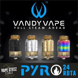 正規品 VANDY VAPE PYRO 24 RDTA 24mm 3Dエアフロー ポストレスデッキ|vapesteez