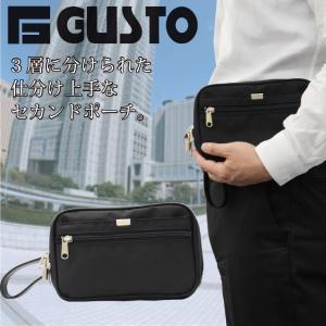 GUSTO(ガスト) 日本製 豊岡製鞄 セカンドバッグ セカンドポ ーチ メンズ 21cm No25667-01 クロ  ___|vaps
