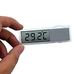 超薄型 デジタル温度計 吸盤式 車内 キッチン 小型 クリア 透明 時計 _ vaps