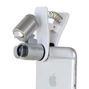 LEDライト付 スマホのカメラが顕微鏡に 60倍 クリップ式 スマホ用 マイクロスコープ 拡大鏡 _|vaps