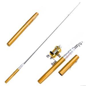 (ノーブランド品)ペン型 釣り竿 釣竿 ポール ミニ 釣りリール コンパクトロッド 携帯 便利 (ゴールド) __|vaps
