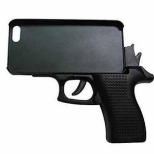 ハンドガン型 iPhone6Plus用ケース 《ブラック》 ピストル型/拳銃型 おもしろ スマホケース _|vaps
