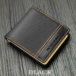 ジャック・ポワリエ 牛革二つ折り財布-フランスの伝統- JP-5003 《ブラック》 _|vaps