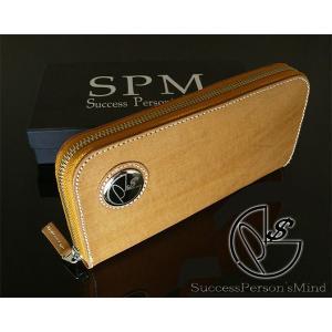 SPM ラウンドファスナー長財布 メンズ 水牛革 ロゴ入りミラーコンチョ キャメル SPM FC-1111 __|vaps