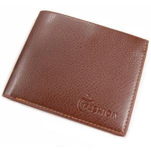 メンズ 二つ折り財布 横型 ブラウン レザー調 財布 カード入れ カード収納 札入れ 定期入れ シンプル ビジネス _|vaps