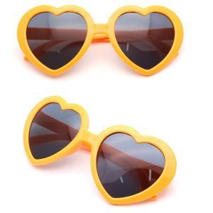 面白サングラス UVカット ハートサングラス 《オレンジ》 _ vaps