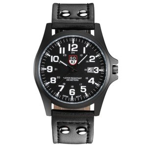 メンズ アナログクォーツウォッチ #05 《ブラック文字盤 ブラックレザーストラップ》 おしゃれ シンプル 腕時計  _|vaps