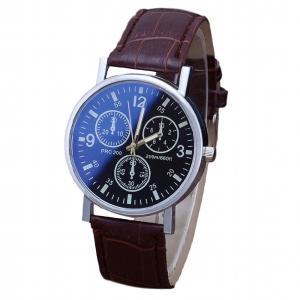 メンズアナログクォーツウォッチ 《Aタイプ》 《ブラック文字盤 ブラウンベルト》 S824 おしゃれ シンプル 腕時計 _|vaps