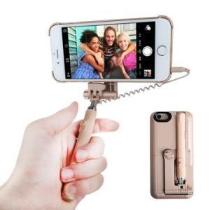 軽量薄型 自撮り棒一体型ケース 《ベージュ》 セルカ棒 スマホケース iPhone6/6s対応 _.|vaps