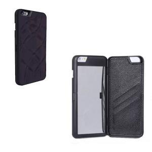 ミラー&ウォレット付 iphoneケース iphone6 Plus/6s Plus用 《ブラック》 鏡 カード入 多機能ケース _|vaps