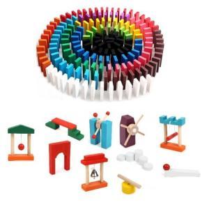 ドミノ倒し 120個 +ドミノギミック10種セット ドミノ 木製 木のおもちゃ 知育玩具 __|vaps