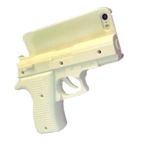 ハンドガン型 iPhone6Plus用ケース 《ホワイト》 銃型 ピストル型 おもしろ スマホケース _.|vaps