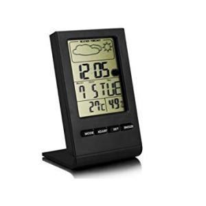 卓上マルチ温湿度計 温度計 湿度計 置時計 デジタル表示 目覚まし時計 アラーム 天気表示 _ vaps
