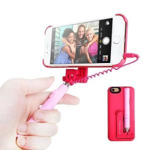 軽量薄型 自撮り棒一体型ケース 《ピンク》 iPhone6Plus iPhone6sPlus対応 5.5インチ用 スタンド使用可 ZIDOCASE _.|vaps