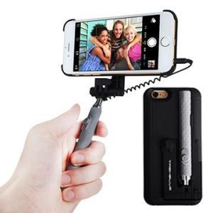 軽量薄型 自撮り棒一体型ケース 《ブラック》 iPhone6Plus/6sPlus対応 5.5インチ用 セルカ棒 スマホスタンド _.|vaps