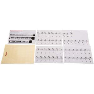 キーボード ピアノ用 88鍵盤 音符シール クリア 鍵盤数字 五線譜 ステッカー _ vaps