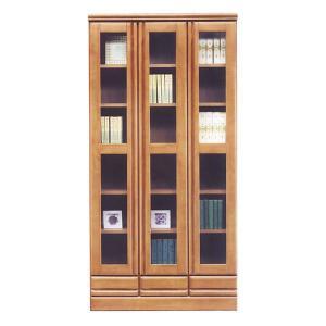 本棚 書棚 おしゃれ ディスプレイラック 扉付き 完成品 90