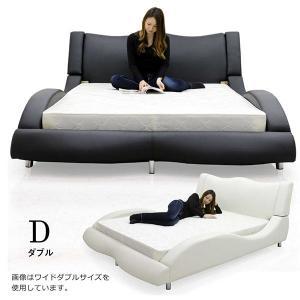合皮レザー(PVC)のダブルベッドです。曲線が美しい高級感のあるベッドです。カラーはブラックとホワイ...