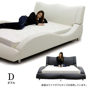 ベッド ダブル マットレス付き 合皮レザー モダン おしゃれ Design Bed|variefurni|12