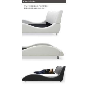 ベッド ダブル マットレス付き 合皮レザー モダン おしゃれ Design Bed|variefurni|04
