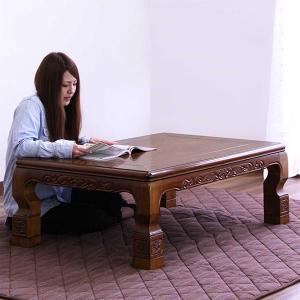 こたつ テーブルのみ 幅120cm 長方形 モダン 和風 彫刻細工入|variefurni