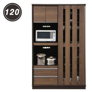 キッチンボード レンジボード 食器棚 幅120 和 和風 和モダン キッチン収納 木目調 レトロ フルオープンレール付き コンセント付き 木製|variefurni