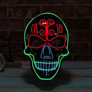 光るマスク ドクロ 電池ボックス付 ELマスク 怖い ハロウィン ガイコツ ホラーマスク 仮面 お面...
