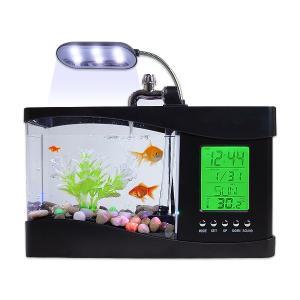 卓上 ミニ水槽 多機能モデル 全2色 横24cm アクアリウム 小型 インテリア おしゃれ プラスチック メダカ 金魚 自由研究 観察用