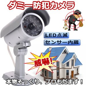 防犯 ダミーカメラ 監視カメラ 防犯 ダミーカメラ LED点滅 全面LED付き 屋外 不審者を威嚇|vastmart