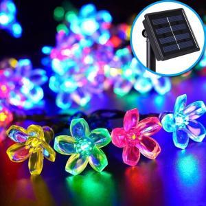 イルミネーション LED ソーラー 屋外 LED 50球 イルミネーション フラワー クリスマス 飾り 充電式