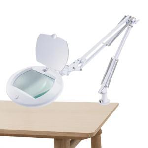 ルーペ付き デスクライト LEDアームライト エルズーム 卓上ライト 学習机  おしゃれ ホワイト オーム電機|vastmart