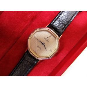 オメガ OMEGA デビル De Ville 腕時計 ウォッチ クォーツ レザー ブラック ゴールド レディース【中古】【ベクトル 古着】