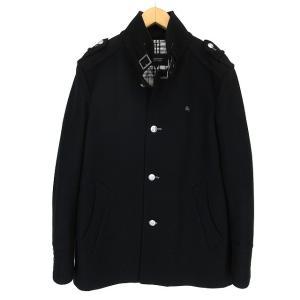 バーバリーブラックレーベル BURBERRY BLACK LABEL シングル コート メルトン ウール 中綿 スタンドカラー L 黒 ブラック 秋冬 メンズ【中古】【ベクトル 古着】|vectorpremium