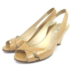 【中古】プラダ PRADA サンダル バックストラップ スリングバック パテントレザー 茶 ブラウン 36.5 シューズ 靴 レディース 【ベクトル 古着】|vectorpremium