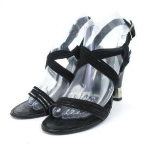 シャネル CHANEL サンダル ストラップ ヒール スウェード ココマーク 黒 ブラック 37 1/2  靴 シューズ IBS1 レディース【中古】【ベクトル 古着】|vectorpremium