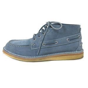 グッチ GUCCI Ankle-High Suede Boat Shoes 255424 デッキシューズ スエード レザー ペールブルー 7 メンズ|vectorpremium