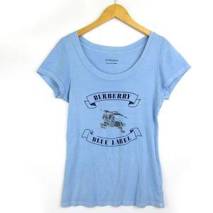【中古】バーバリーブルーレーベル BURBERRY BLUE LABEL Tシャツ ロゴ プリント ...