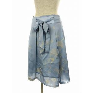 【中古】トラサルディ TRUSSARDI ひざ丈 スカート 総柄 シフォン 水色 38 レディース 【ベクトル 古着】|vectorpremium