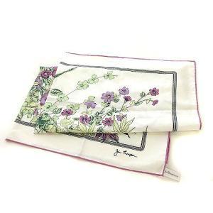 ジムトンプソン JIM THOMPSON スカーフ シルク 花柄 パープル × ホワイト  レディー...