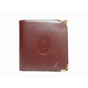 カルティエ Cartier マストライン 二つ折り財布 コンパクトウォレット ボルドー ゴールド/△M05 メンズ レディース【中古】【ベクトル 古着】