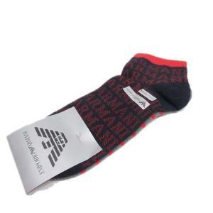 【中古】未使用品 エンポリオアルマーニ EMPORIO ARMANI 靴下 ソックス ボーダー ロゴ...